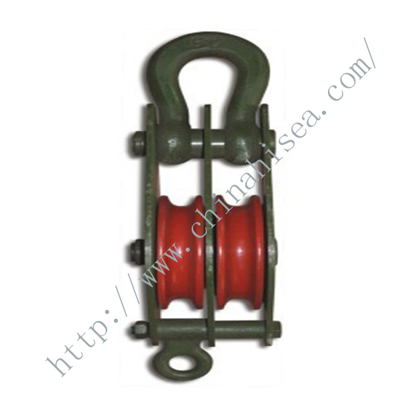 2 Wheels Sheaves Pulley Blocks with Closed Shackle