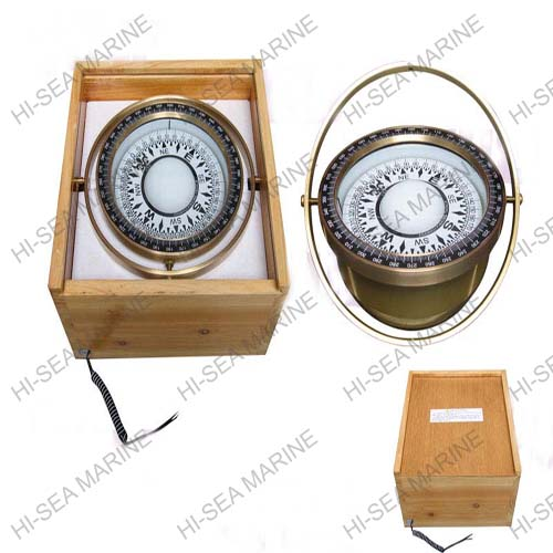 Plastic & Brass Magnetic Compass in Wooden Box