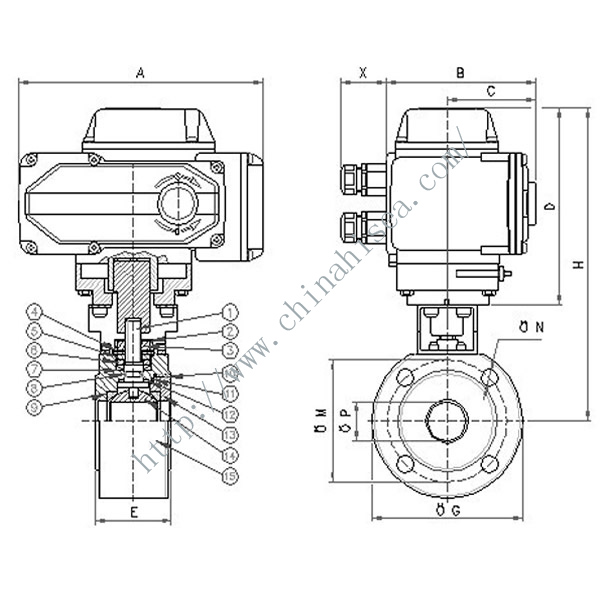 Electric Wafer Ball Valve Drawing