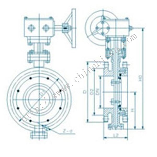 JIS Wafer Type Butterfly Valve Drawing