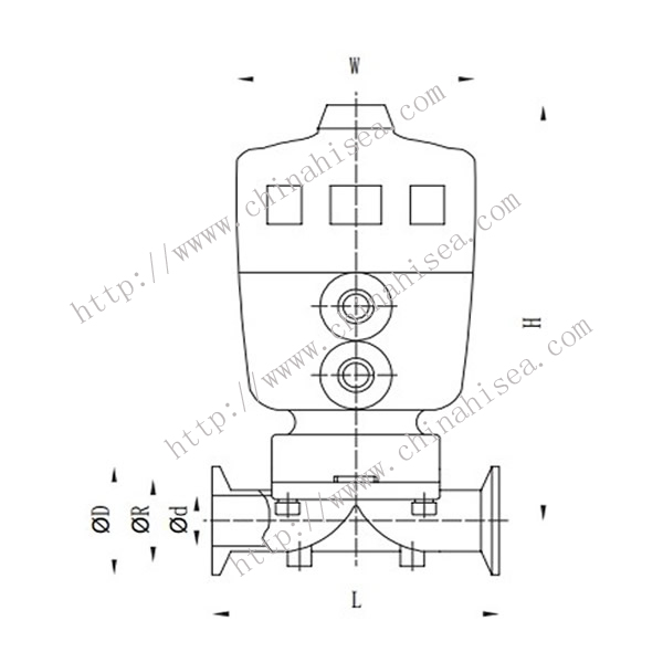 Normally Closed Pneumatic Diaphragm Valve Drawing