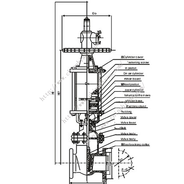 Pneumatic Wedge Type Gate Valve Drawing