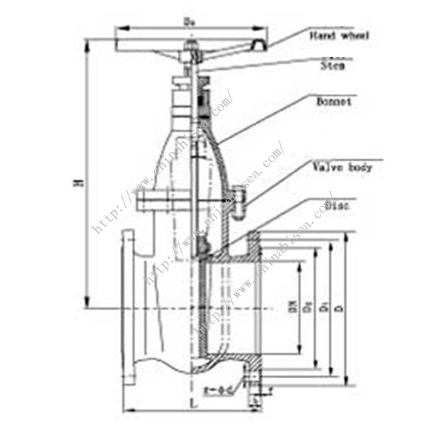 Water Treatment Gate Valve Drawing